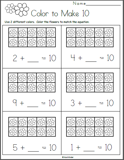 Kindergarten math worksheets free worksheet for addition made by teachers color to make flowers picture