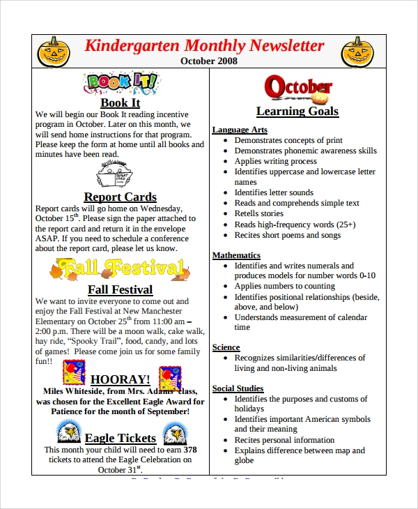Kindergarten monthly newsletter template free sample newsletters in pdf ms word html psd remarkable