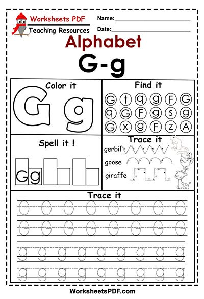 Letter g activities free printables worksheets pdf staggering for preschool image