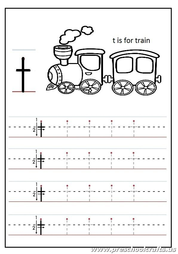 Lowercase letter t worksheets kindergarten and 1st grade is for train coloring page