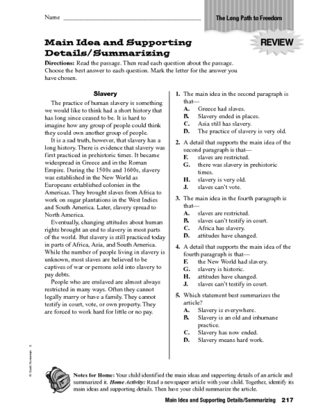 Main idea and supporting details summarizing worksheet multiple choice worksheets 6th grade ideawalls