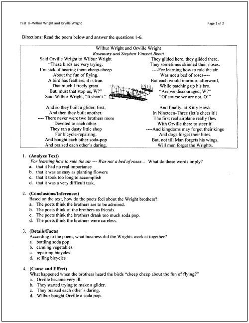 Main idea the wright brothers worksheets 99worksheets pin on reading comprehension 5 reading comprehension