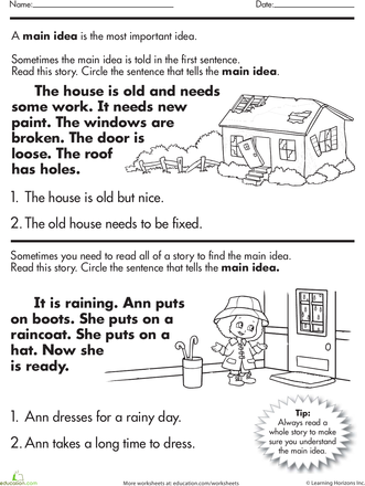 Main idea worksheet photo inspirations worksheets story comprehension whats the