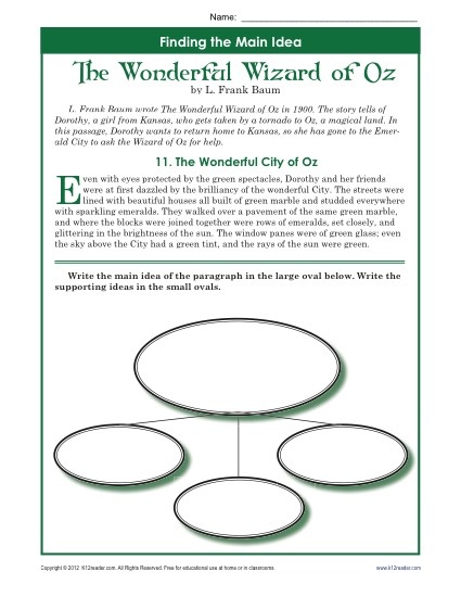 Main idea worksheets 5th grade pdf picture ideas worksheet about the wonderful wizard of oz summer