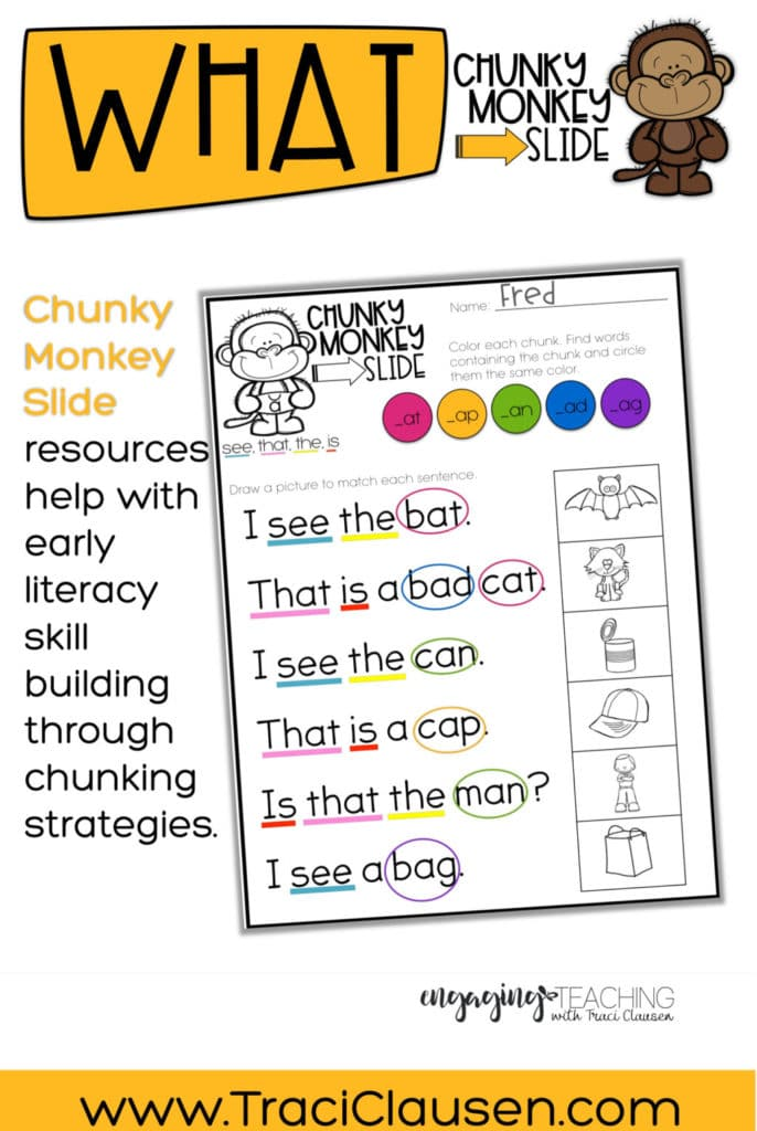 Marvelous chunking reading strategy worksheets photo inspirations phonics sight word practice with chunky monkey engaging teaching