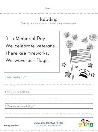 Memorial day reading comprehension worksheet all kids network veterans thumbnail preview