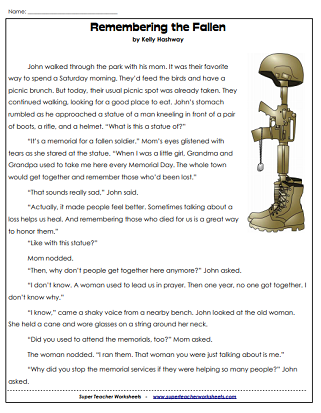 Memorial day worksheets usa memorialday readingcomp marvelous reading comprehension pdf image