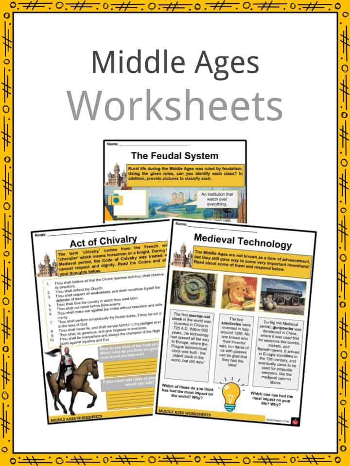 Middle ages facts worksheets events culture traditions for kidsg comprehension pdf free printable download