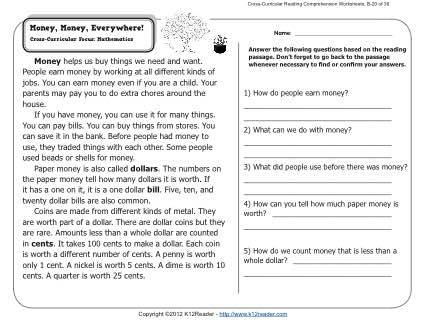 Money everywhere 2nd grade readinghension worksheets free for what is