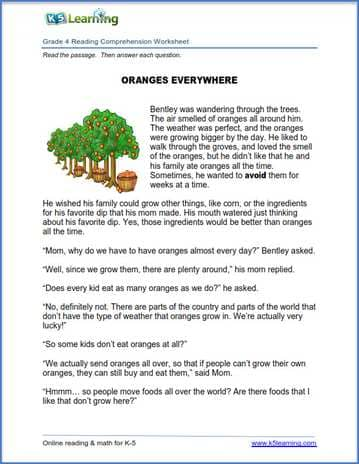 New reading comprehension worksheets for grades and k5 learning 4th grade passages