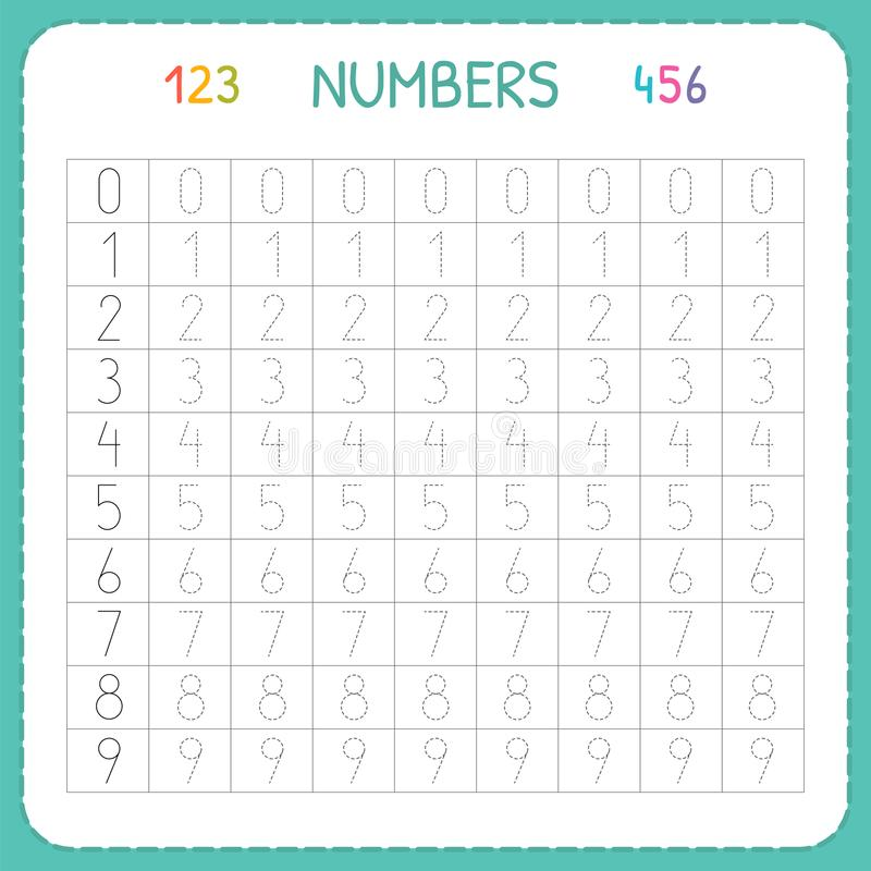 Number exercises for kindergarten numbers kids worksheet and preschool training to write count tracing children stock vector illustration of
