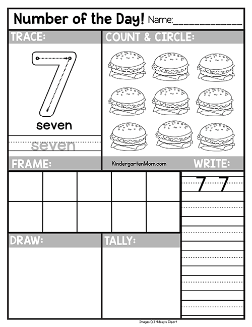 Number sheets for kindergarten number7 stunning picture ideas free of the day worksheets