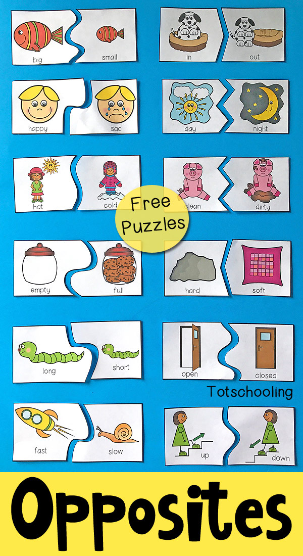 Opposite pictures for kindergartensites puzzles preschool totschooling toddler educational printables students printable