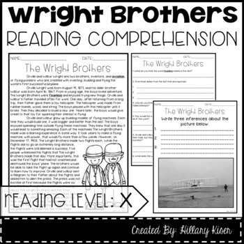 Original wright brothers reading comprehension pdf leveled text x the