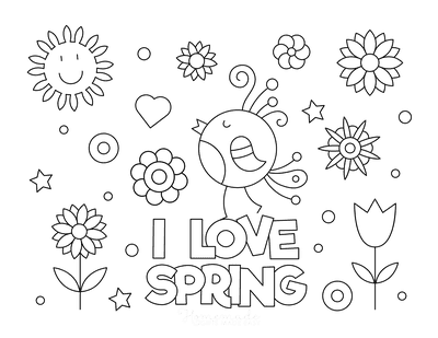 Outstanding free printable spring coloring pages i love poster to color 400x309