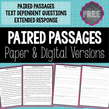 Paired passages grade printable original free passage and questions by ashleigh teachers pay photo