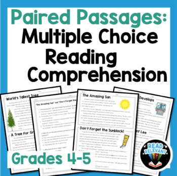Paired passages grade printable photo ideas with multiple choice reading comprehension grades original