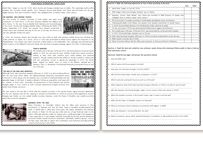 Pin on elt resources english learning worksheets teaching tips lesson plans and more readingn exercises pdf world war
