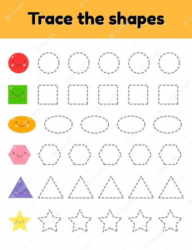 Premium vector illustration educational tracing worksheet for kids kindergarten preschool and school age trace the cute geometric shape dashed lines worksheets