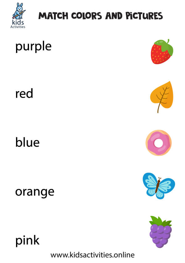 Preschoolor recognition worksheets freeors match words with pictures kids activities staggering for and kindergarten