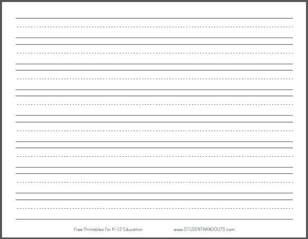 Printable lined paper for kids staggering writing with drawing box