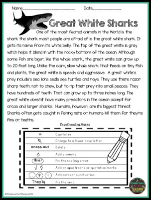 Proofreading and editingading comprehension passages classroom freebies tremendous free shark worksheets slide11 printable