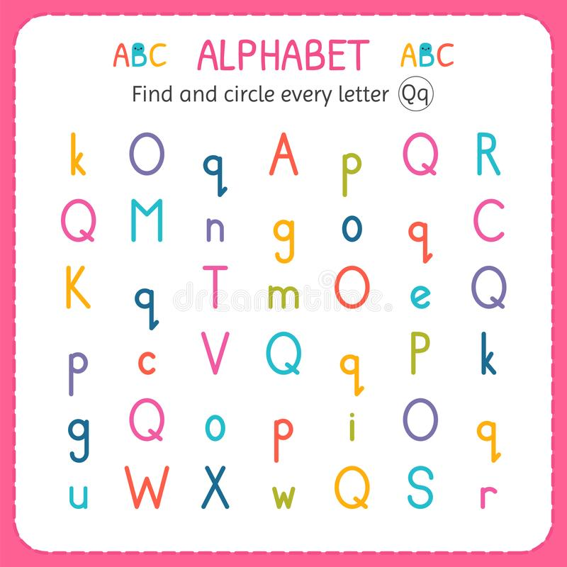 Q pictures forten find circle every letter worksheet preschool exercises children and