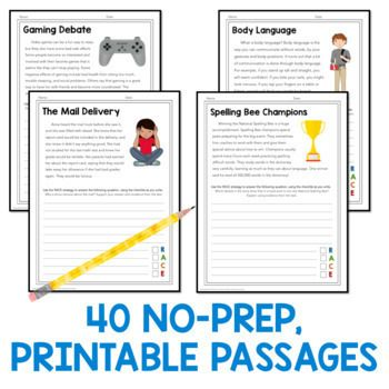 Race strategy prompts and passages for all year grades by read relevant writing skills text to connections this or that questionsred grade printable photo ideas