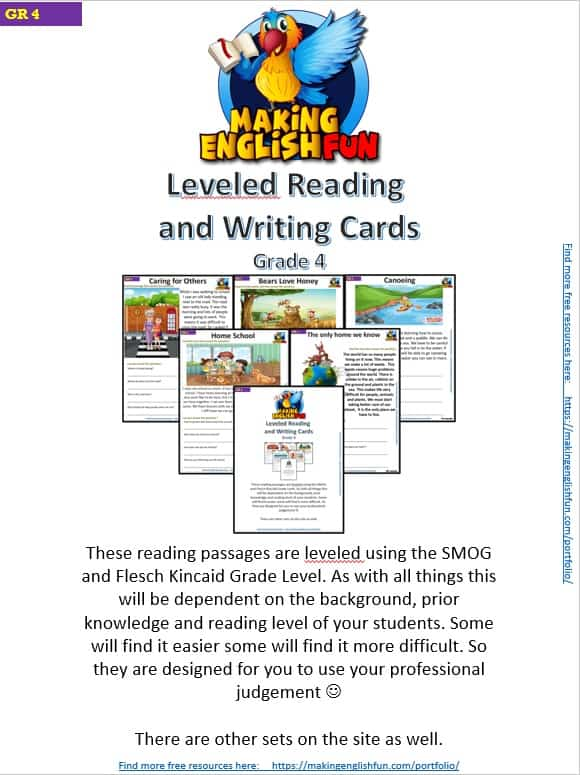 Read1g4 grade reading writing comprehension cards for kindi primary and esl students editable making english fun fabulous passages