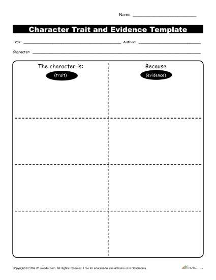 Reading and identifying character traits printable character trait evidence template workshsheets evidence template