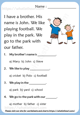 Reading comprehension passages grade worksheets your home