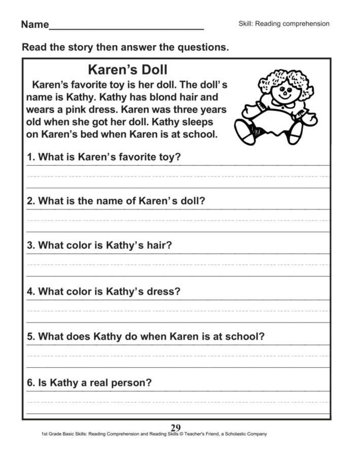 Reading comprehension passages with questions and answers for grade fabulous worksheets free printable math daily