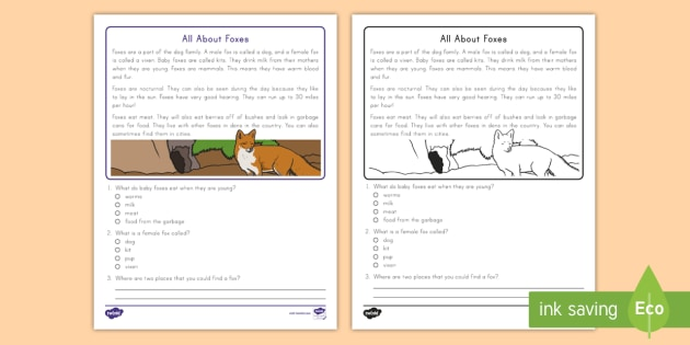 Reading comprehension passages with questions animal 2nd grade free printable sign worksheets