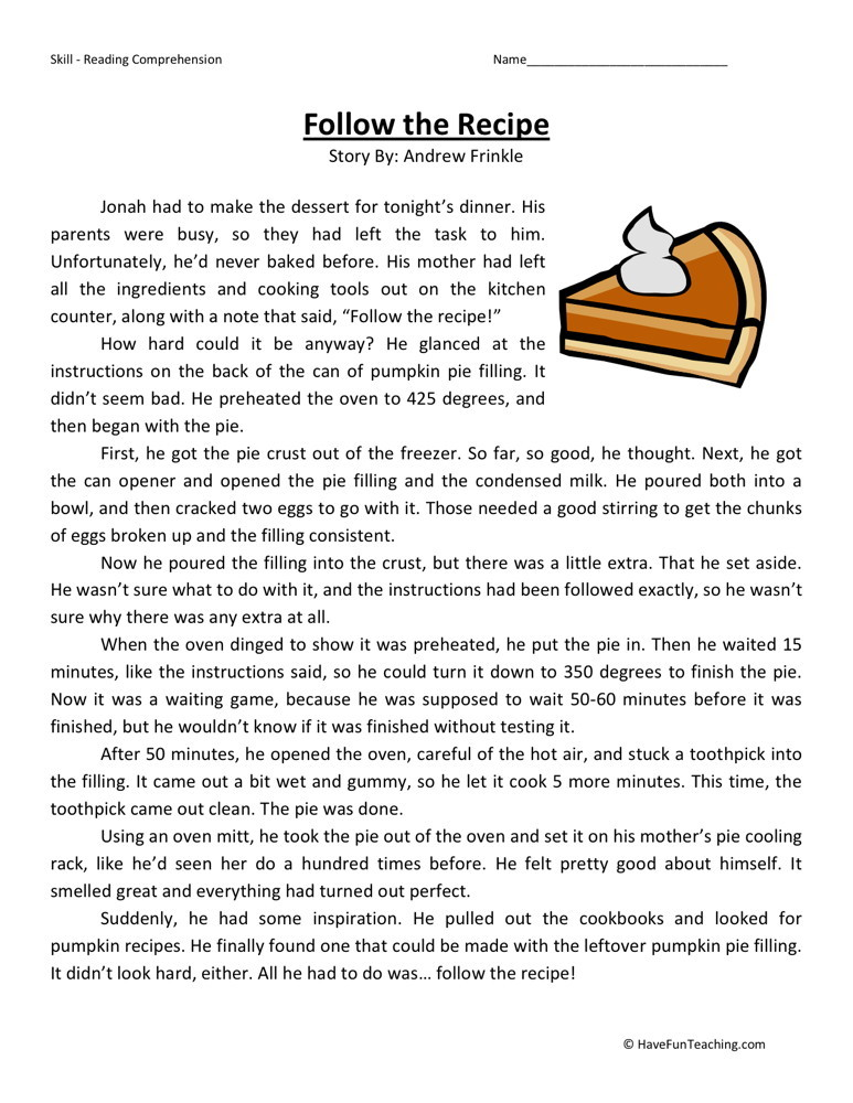 Reading comprehension worksheet follow the recipe free fifth grade homework 5th common core