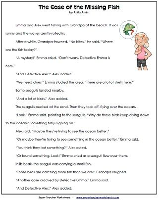 Reading comprehension worksheets 2nd grade pictureor printable english