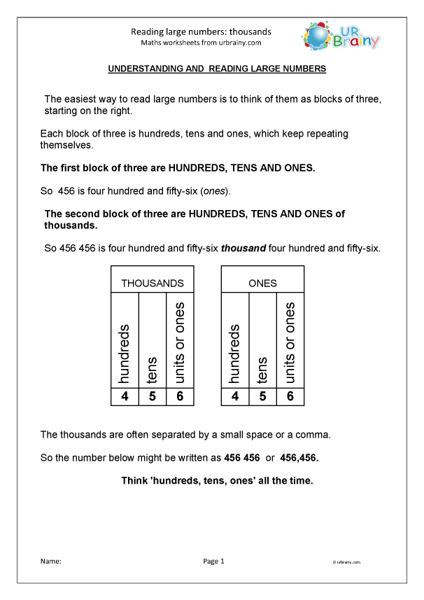 Reading large numbers worksheet 9099 1 thousands number and place value by urbrainy com splendi picture