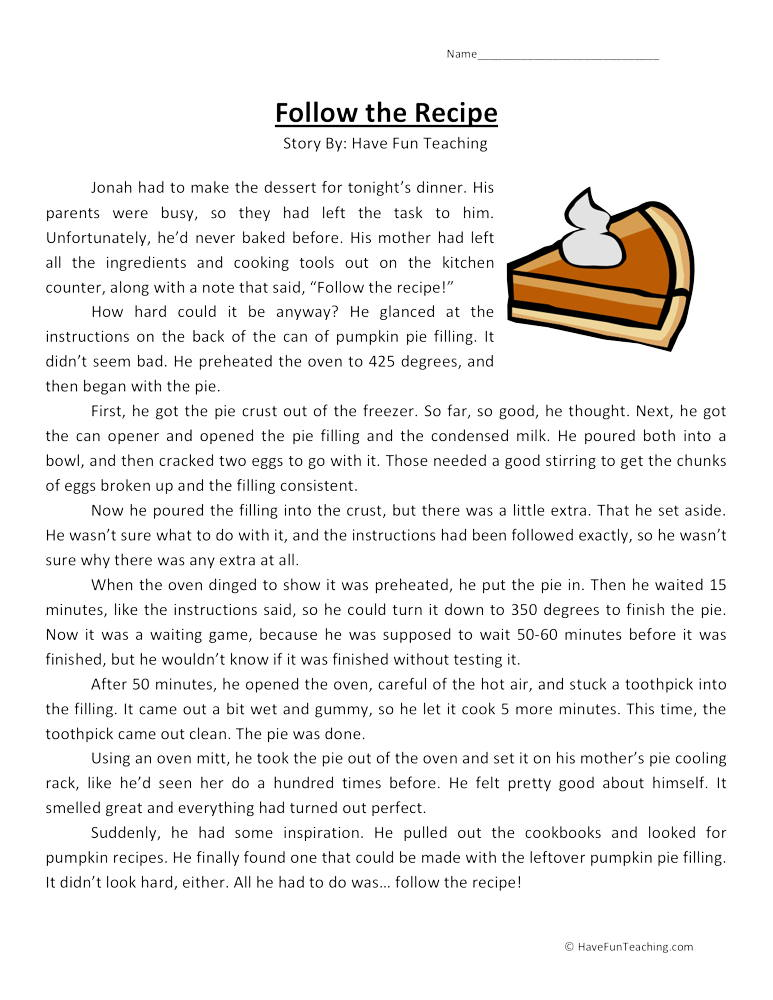 Reading passages for adults fabulous follow the recipe comprehension worksheet have fun