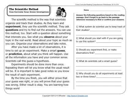 Science reading comprehension worksheets high school with answers free pdf