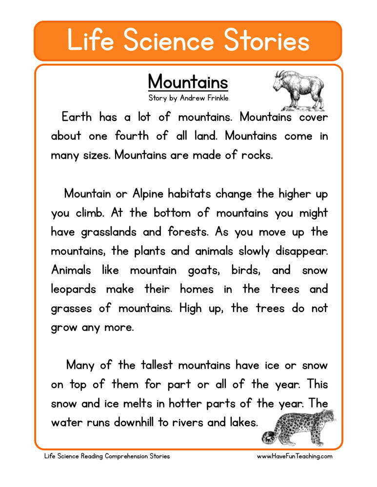 Science readingrehension worksheets high school photo inspirations free life mountains