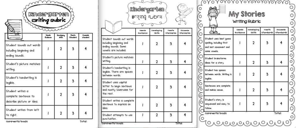 Splendi kindergarten writing rubric picture inspirations sample template samplesintable with pictures free