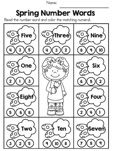 Spring number words fun and engaging activity to teach recognition of numbers woe280a6 kindergarten math activities worksheets