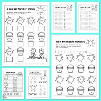 Stunning number sheets for kindergarten picture ideas free summer math