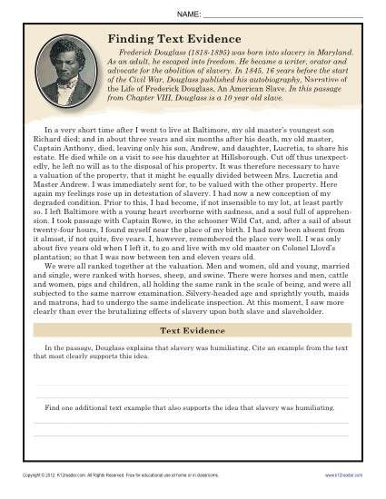 Text evidenceheet 4th grade image inspirations finding frederick douglass 8th reading comp citing