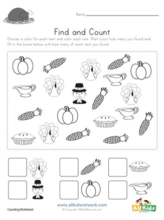 Thanksgiving worksheets for kids find and count worksheet all network thumbnail preview