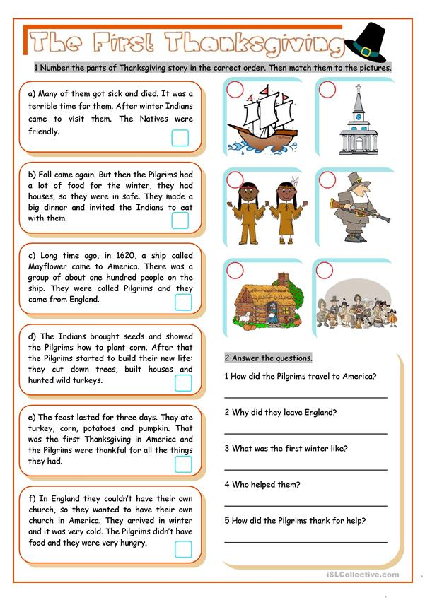 The first thanksgiving english esl worksheets for distance learning and physical classrooms readingon exercises 62422 1
