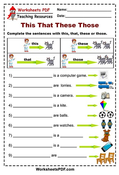 This that these those esl pdf is are worksheets for kindergarten fabulous photo