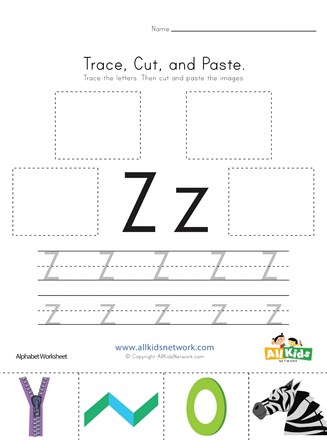 Trace cut and paste letter z worksheet all kids network incredible worksheets for kindergarten thumbnail preview