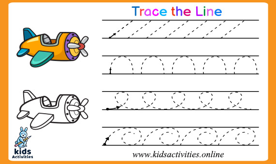 Trace the line for kindergarten tracing activities kids free lines worksheets year olds excelent picture