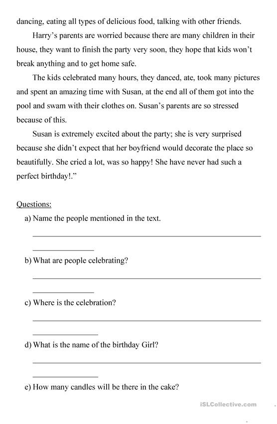 Tremendous simple comprehension questions emotionsh reading english eslorksheets for distance learning and physical classrooms