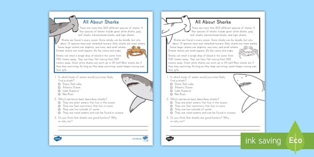 Uscecond grade all aboutharks reading passage comprehension activity ver 1 animal passages 2nd image inspirations